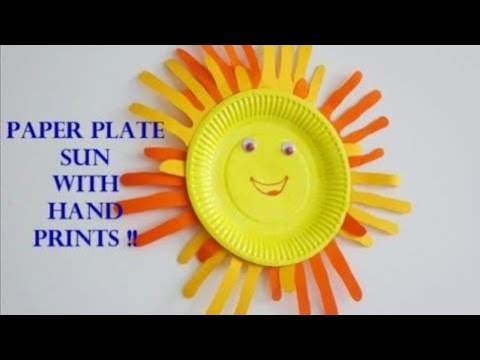 Easy Paper Plate Sun With Hand Prints DIY ~ Instructions /Tutorial..