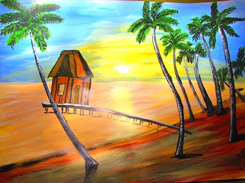 How to make Beach House Painting - Acrylic Painting