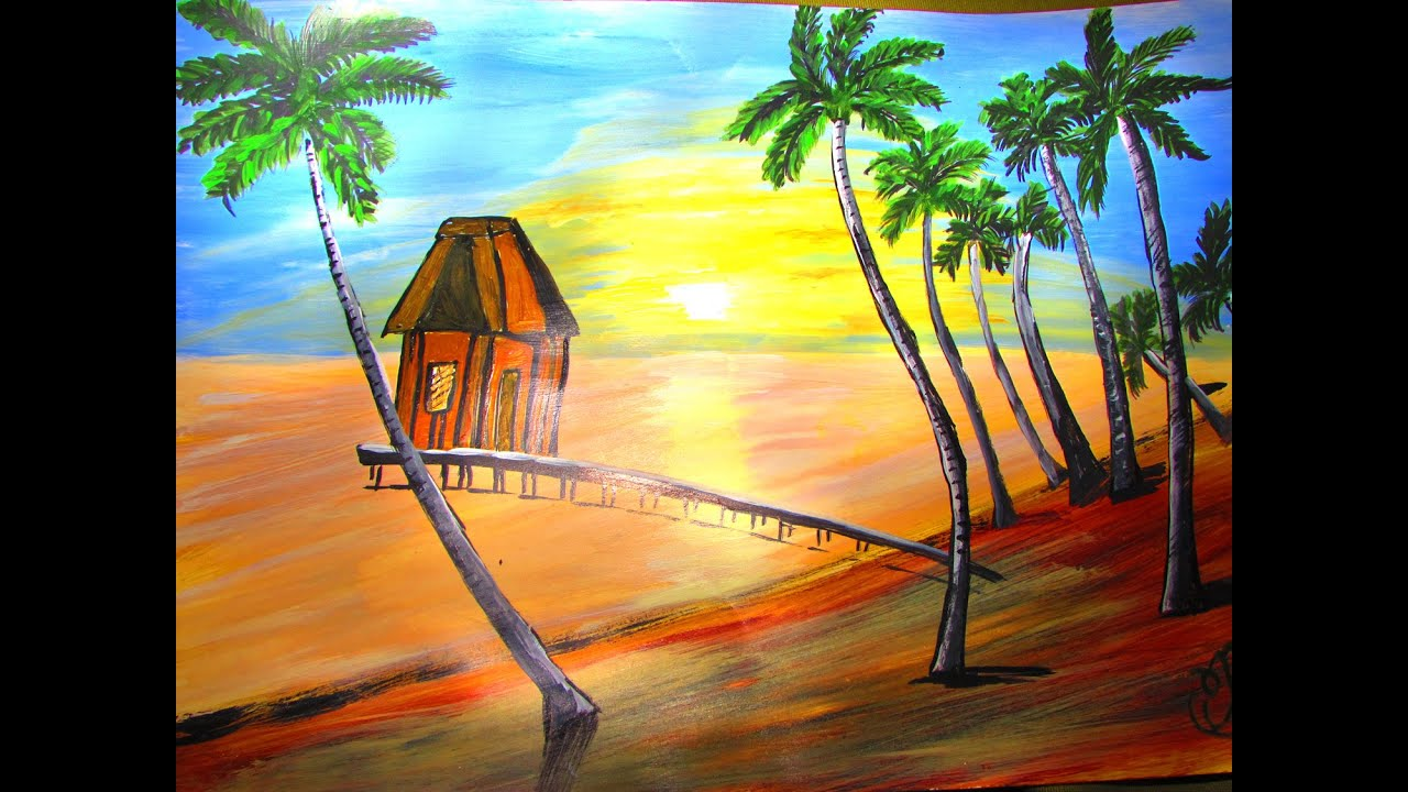 How to make Beach House Painting - Acrylic Painting - YouTube