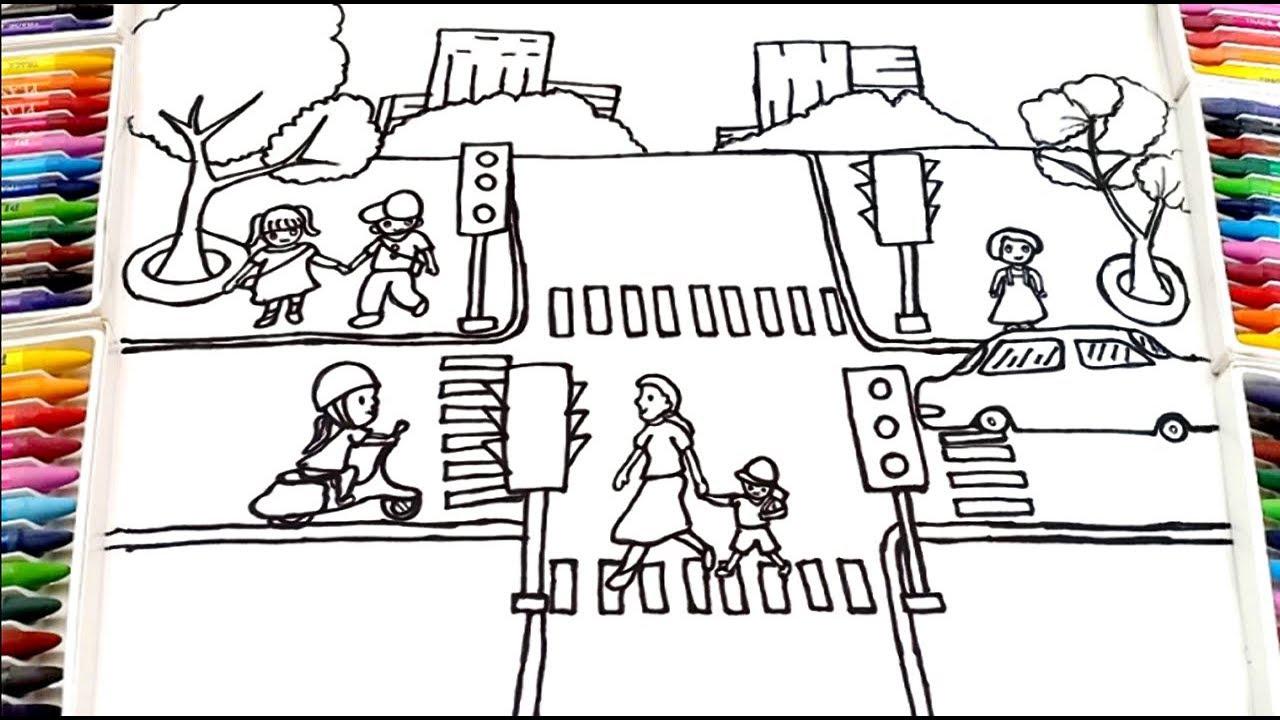 Vẽ tranh An toàn giao thông với Ngã tư đường phố | How to draw Traffic Safety | Concung Channel