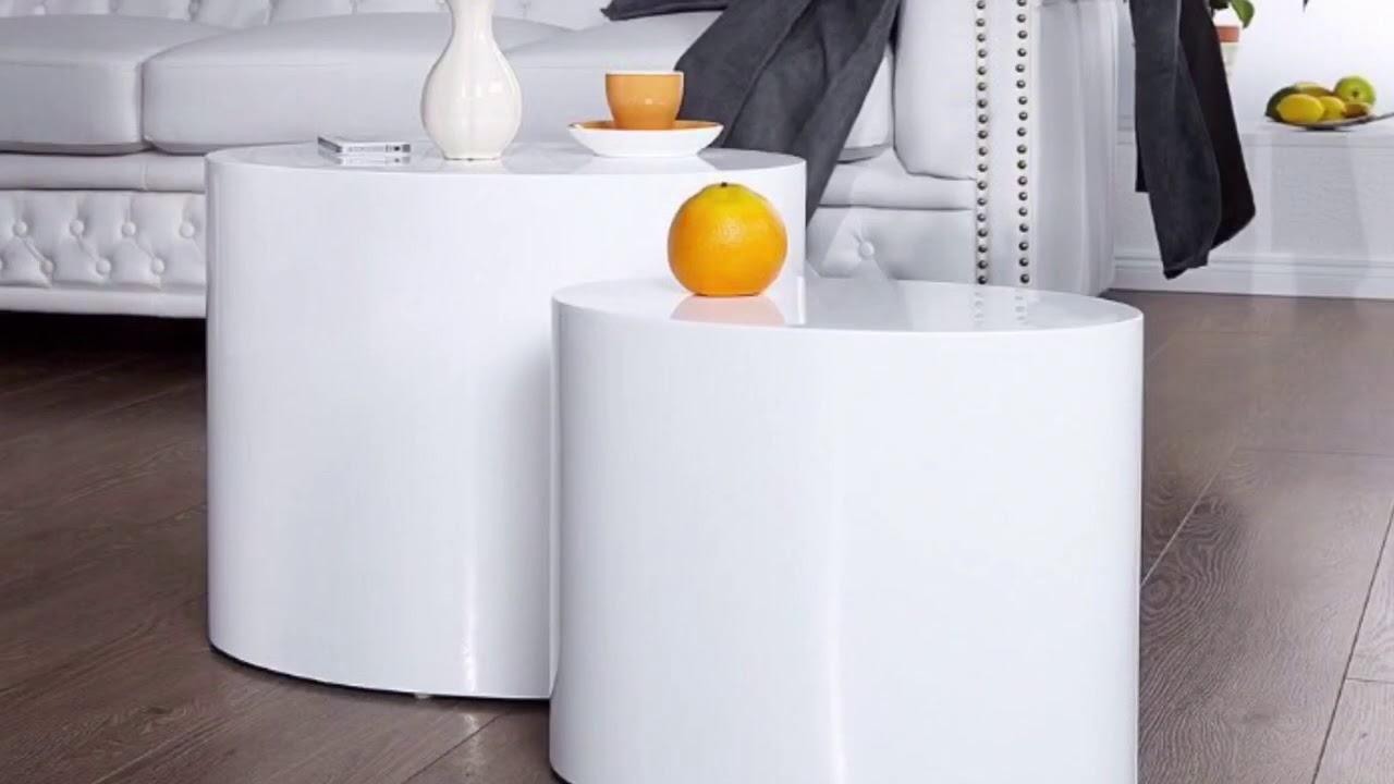 Beistelltisch Couchtisch Weiss Hochglanz Invicta Interior 20924 2er Set