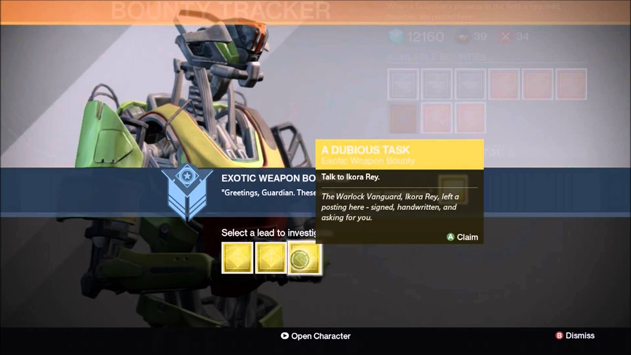 Destiny how to get exotic bounties destiny exotic weapons armor