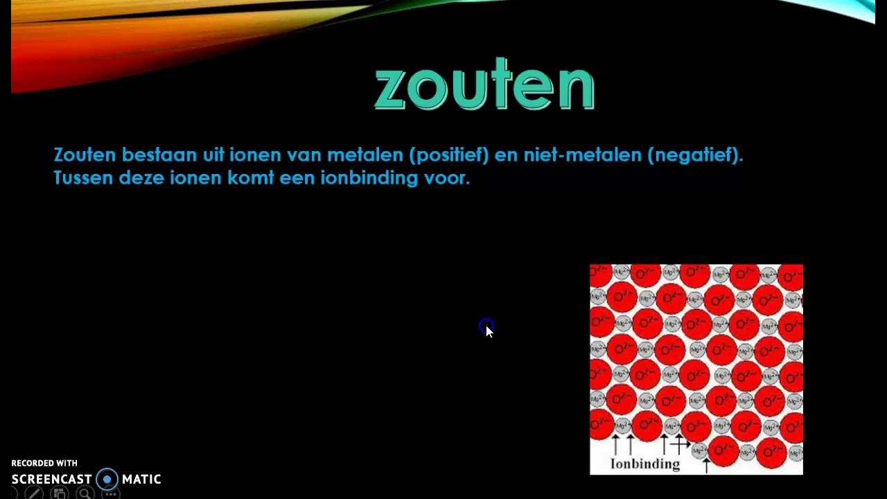 Bindingen: atoom-, vanderwaals-, metaal- en ion-binding.