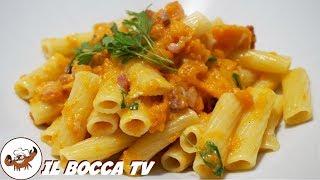630 - Tortiglioni zucca, rigatino e gorgonzola..vi prendiamo per la gola! (pasta facile e sfiziosa)