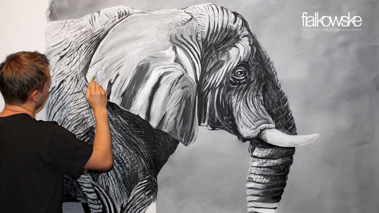 25 Elefant Acrylic Painting Stopmotion Prozess Ein Elefant Mit