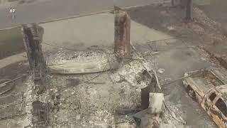 """Аэросъемка разрушений после пожара """"Кэмп"""""""