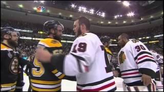 Blackhawks and Bruins shake hands after Stanley Cup