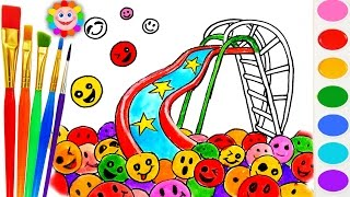How to Draw Playground Slide and Gumballs  Learning Colouring Pages for Children