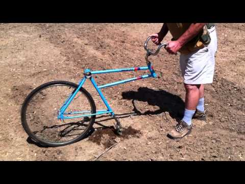 Basic tutorial on how to turn a bicycle into a garden plow, reconfigure, reuse ideas