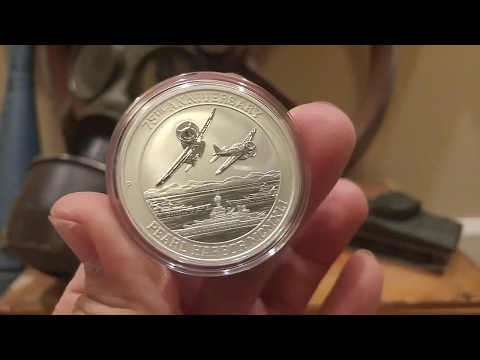 2016 Tuvalu Pearl Harbor 1 oz Silver 75th Anniversary WWII Tribute Coin