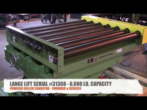 6,000 Pound Capacity Scissors Lift with Powered Roller Conveyor   Lange Lift Serial #31308