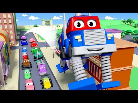 O caminhão com molas  - Carl o Super Caminhão na Cidade do Carro  Desenho animado para crianças