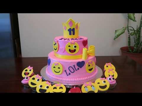 emoji-faces-cake- -emoji's-party-ideas -diy-&-how-to