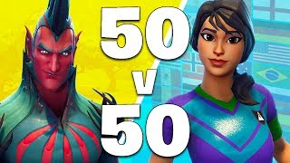 *NEW SKINS* 50 vs 50 MODE LIVE!! (Fortnite Battle Royale)