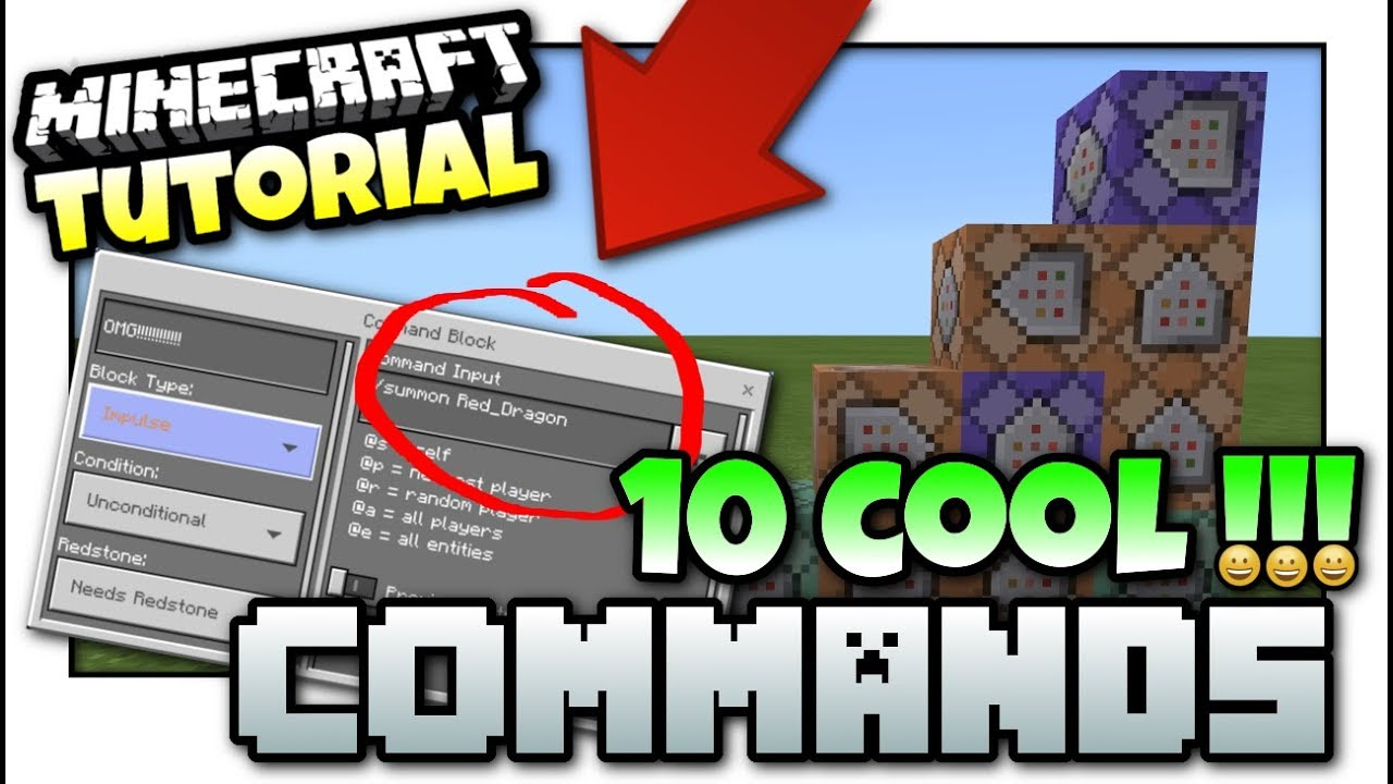 Minecraft - 10 COOL COMMANDS [ Easy Tutorial ] MCPE / Bedrock / Xbox /Java  / Windows 10