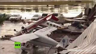 Fuerte tormenta arrasa un aeropuerto en Carolina del Norte