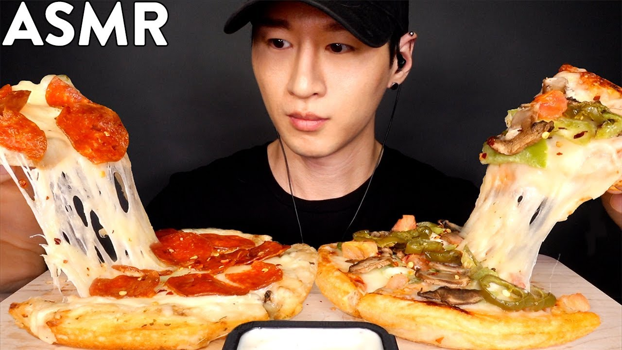 ASMR EXTRA CHEESY PEPPERONI & VEGGIE PIZZA MUKBANG (No Talking) EATING SOUNDS | Zach Choi ASMR