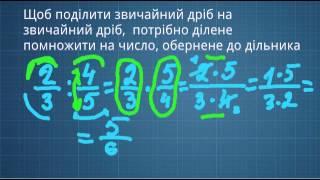 Ділення дробів. Математика. 6 клас