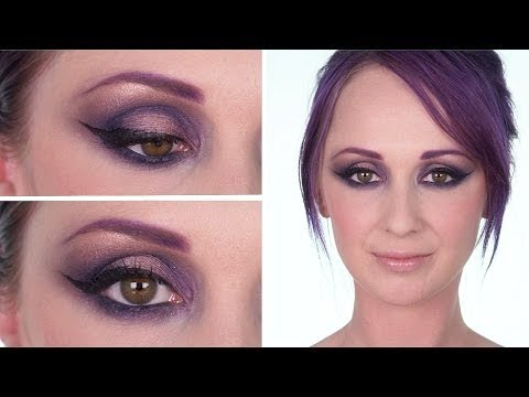 purple look maquillage violet et eye liner oeil de biche youtube. Black Bedroom Furniture Sets. Home Design Ideas