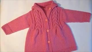 Детский жакет спицами.Пальто с косами для девочки.Ч.1.Как связать детское пальто-вязание спицами