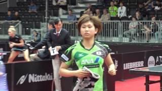 女子シングルス2回戦 佐藤瞳 vs テイ センチ 第1ゲーム