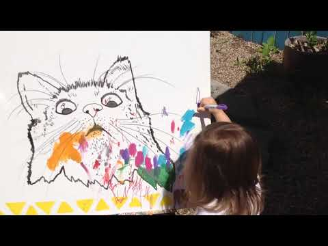 Young artist contributing to a collaborative piece at The 5th Annual UGLYFEST - 3-15-2017
