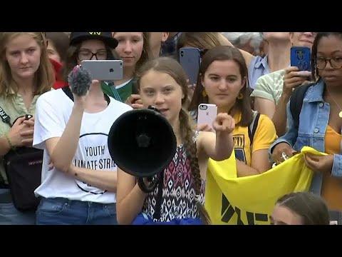 Грета Тунберг протестует