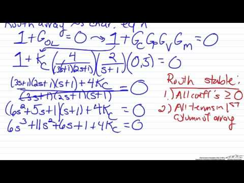 Determine Stability of Controlled System using a Routh Array