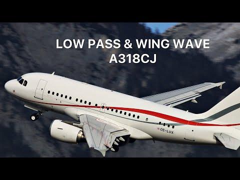 A318CJ LOW PASS & WING WAVE (LIVE ATC)