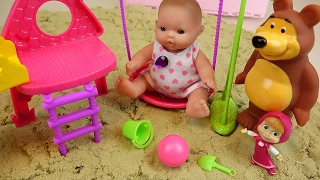 Baby Doll sand toys Marsha and Bear slide
