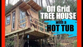 #546- Two Story Tree House W/a Hot Tub! -off Grid Tiny House Living