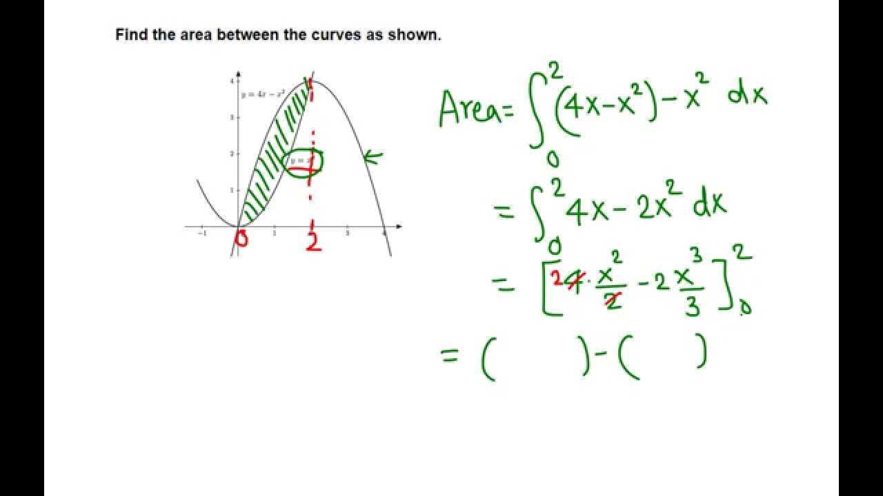Find the area between the curves calculator-area between three.