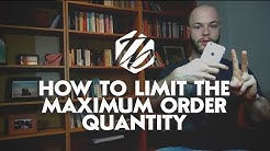 Shopify Store Setup ? How To Limit The Maximum Order Quantity | #226