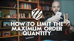 Shopify Store Setup — How To Limit The Maximum Order Quantity | #226