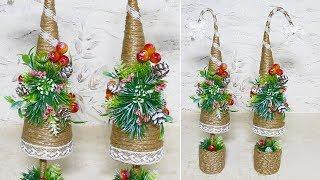 Новогодняя ёлочка из джута. Поделки и подарки на новый год своими руками.
