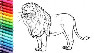 How to Draw a Lion - Learning Wild Animals Color pages for Kids - Learning Colors with Animals