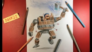 Como dibujar la Máquina Bélica de Clash of Clans con DAVO22 / how to draw the battle machine of CoC