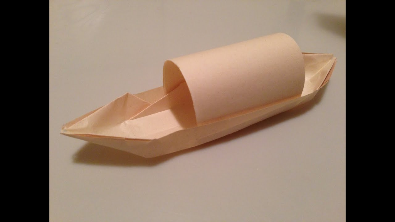 How To Fold Origami Boat Canoe With Canopy Tutorial Youtube