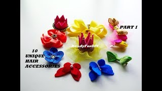 10 UNIQUE DIY HAIR ACCESSORIES FOR BABY GIRLS & KIDS   HAIR CLIPS - PART 1