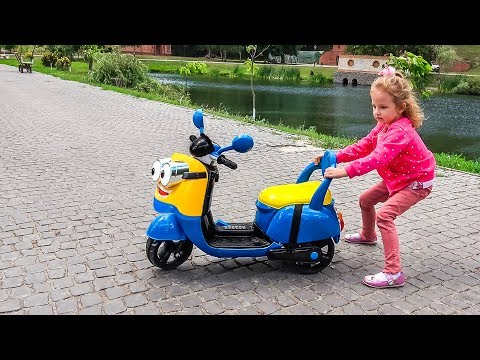 Best Of The Minions Funny Stories baby by motorcycle on the Playground for children
