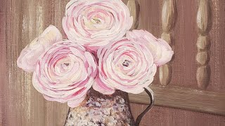 Pink Floral Chair Acrylic Painting LIVE Tutorial