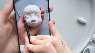 Лепим голову кукле. Самозатвердевающий пластик. Будуарная кукла