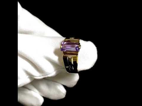 Мужское кольцо-печатка с аметистом огранки багет из золота