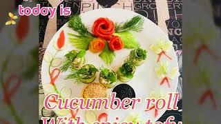Cucumber roll with spicy tofu ( Thai vegan food)
