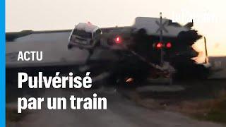 Etats-Unis : un semi-remorque coincé sur les rails violemment heurté par un train