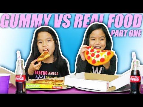 GUMMY FOOD VS REAL FOOD CHALLENGE #1 | Tran Twins