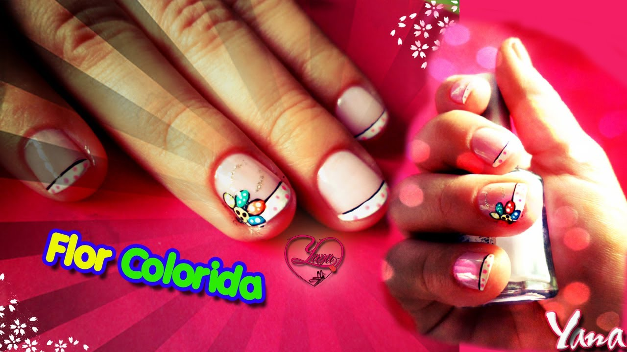 Facil Decorado de Uñas - Flor Colorida - Yana - Nail Art - YouTube