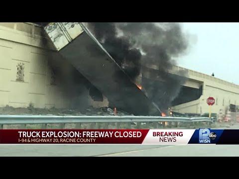 Truck crash, fire closes I-94 in Racine County