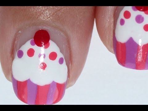 Easy Cupcake nail art tutorial: short nails - Easy Cupcake Nail Art Tutorial: Short Nails - YouTube