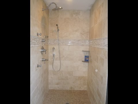 Travertine tile master bathroom